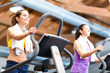 Women training in a fitness club