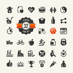 Set health and fitness pictograms for web