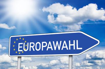 Wegweiser mit Europawahl