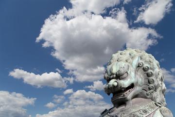 Bronze Guardian Lion Statue in the Forbidden City, Beijing