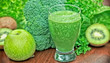 Freshly prepared green smoothie