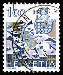 Postage stamp Switzerland 1982 Aquarius, Old Bern