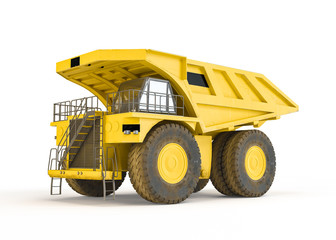 Large haul truck isolated on white background