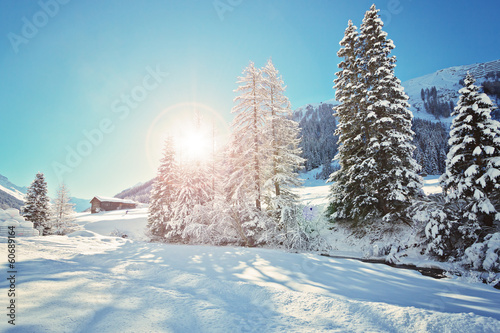 canvas print picture Landschaft im Dischmatal - Schweiz