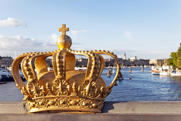 Stockholm, Sweden. View of the embankment and the symbol of Swed