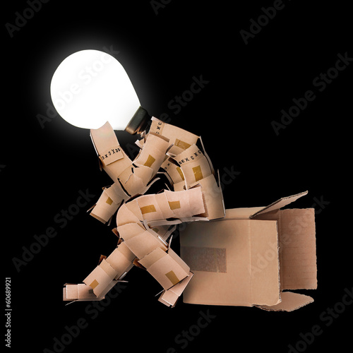 Light bulb box man character