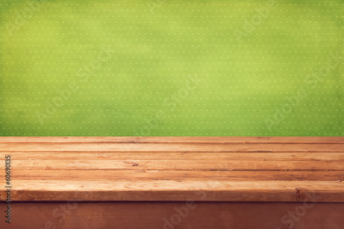 Easter holiday background with empty wooden table