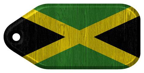 jamaica flag painted on wood tag