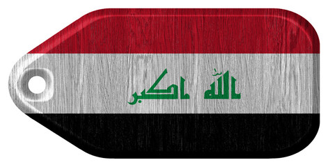 Iraq Flag painted on wood tag