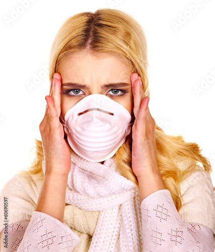 Young woman in medical mask.
