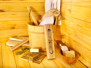 Still life with sauna accessories.