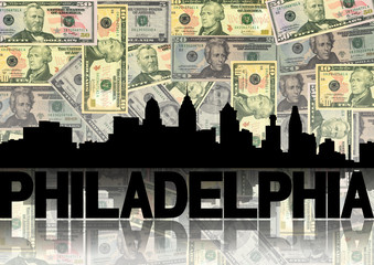 Philadelphia skyline reflected with dollars illustration