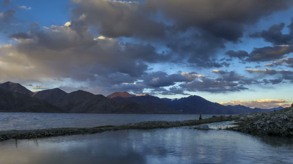Pangong lake sunset Ladakh time lapse