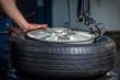 Leinwanddruck Bild - changing tires