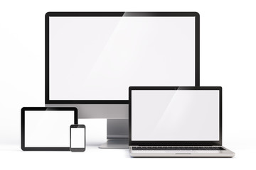 Mobile devices with white screen template