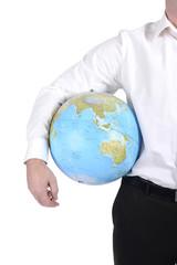 Mann mit Globus