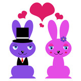 Cute couple of bunnies in love