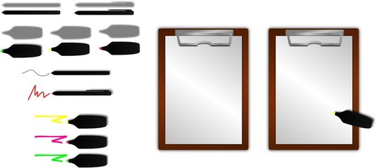 Klemmbrett mit diversen Stiften