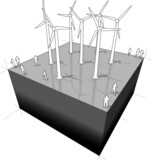 diagram of a wind turbines farm