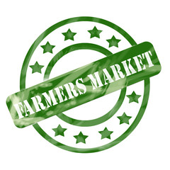 Green Weathered Farmers Market Stamp Circles and Stars