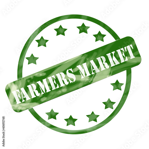 Green Weathered Farmers Market Stamp Circle and Stars