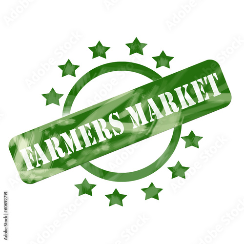 Green Weathered Farmers Market Stamp Circle and Stars Design