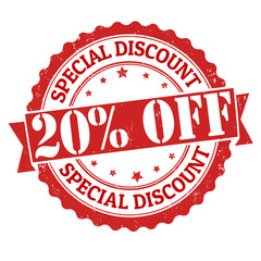 Special discount 20% off stamp