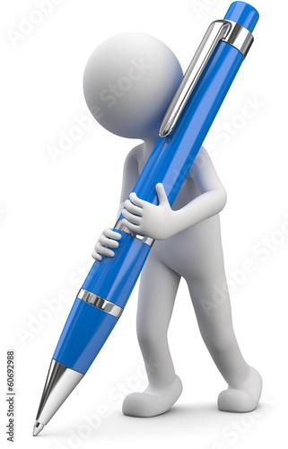 Männchen mit blauen Kugelschreiber