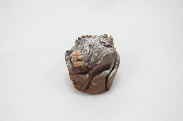 chocolate muffin over white