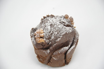 homemade chocolate muffin isolated