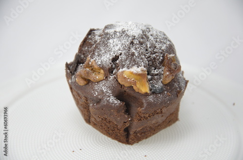 isolated chocolate muffin
