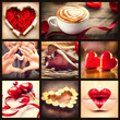 Valentine Collage. St. Valentines Day Hearts art design. Love