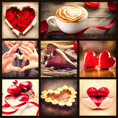 Valentine Collage. St. Valentines Day Hearts art design. Love
