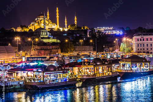 Poster Turkey Night view on the restaurants at the end of the Galata bridge, S