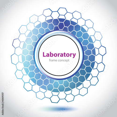 Abstract dark blue medical laboratory circle element.