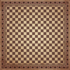 Vintage chessboard background, vector illustration