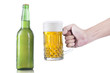 Closeup of hand taking glass of beer
