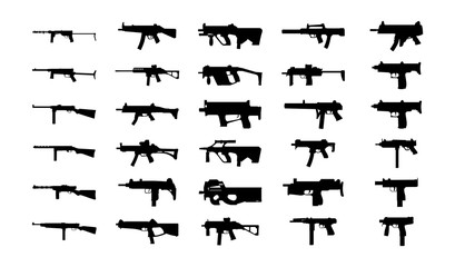 Guns silhouettes set. Vector EPS10.