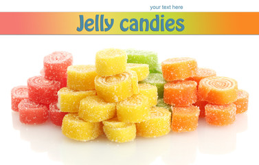 sweet jelly candies isolated on white.