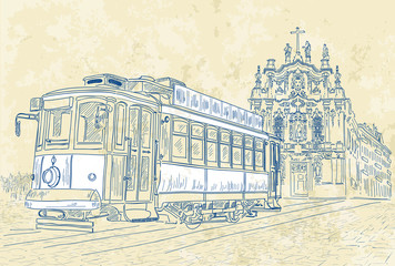 Vector illustration of tram in Porto, Portugal