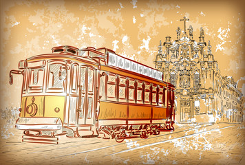 Vector illustration of street tram in Porto, Portugal