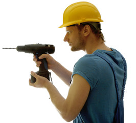 Young foreman with drill isolated on white