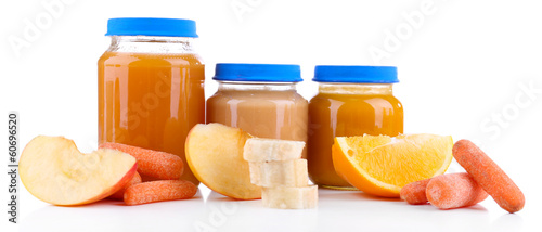 Jars  of various baby food, isolated on white