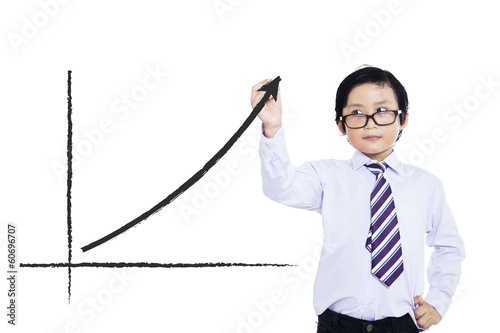 Little boy drawing statistic arrow