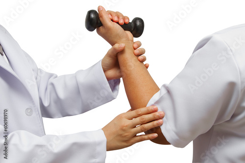 Doctor holding patient 's elbow for rehab weight training