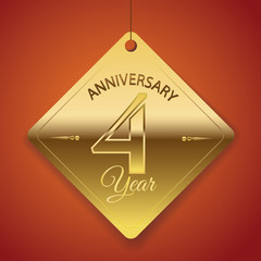 4th Anniversary poster / template/ tag design Vector Background