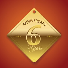 6th Anniversary poster / template/ tag design Vector Background
