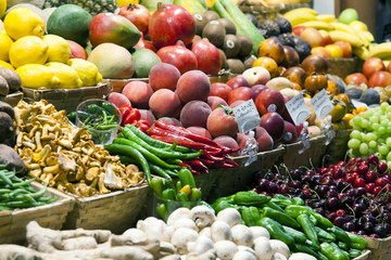 Set of various fruits and vegetables on a market stall