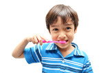 Little Boy Brushing Teeth on white background
