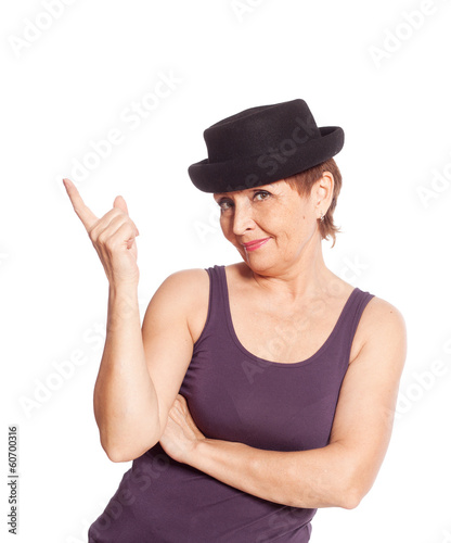 attractive woman 50 years in a black hat smiling
